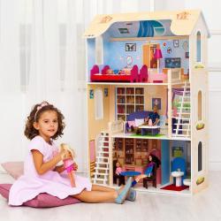 Кукольный домик для Барби Шарм (16 предметов мебели, 2 лестницы)