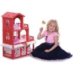 Домик для кукол Дом Николь, цвет бело-красный с мебелью