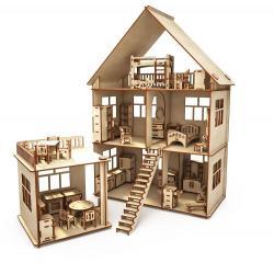 Конструктор-кукольный домик из дерева ХэппиДом Коттедж с пристройкой и мебелью