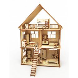 Конструктор-кукольный домик из дерева ХэппиДом Коттедж с мебелью