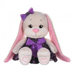 Мягкая игрушка Jack&Lin Зайка в фиолетовом платье с пайетками, 20 см
