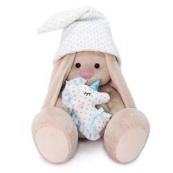 Мягкая игрушка Зайка Ми с голубой подушкой-единорогом, 18 см