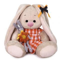 Мягкая игрушка Зайка Ми, в оранжевом платье с зайчиком, высота 15 см