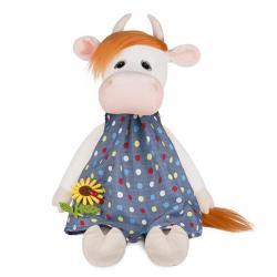 Игрушка мягкая Коровка Глаша в платье с цветочком, 28 см