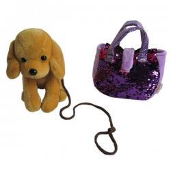 Собачка в сумке с пайетками Bondibon Милота. Лабрадор c ошейником и поводком, 19 см, арт. LEO19-521A