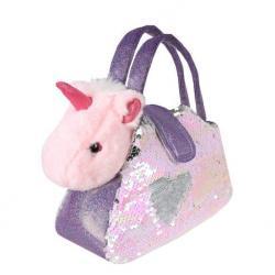 Мягкая игрушка Единорог в сумочке с пайетками, 18 см
