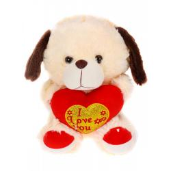 Мягкая игрушка Песик с сердцем, бежевый (30 см)