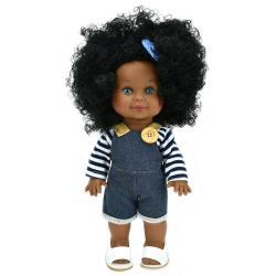 Кукла Бетти темнокожая, в джинсовом комбинезоне