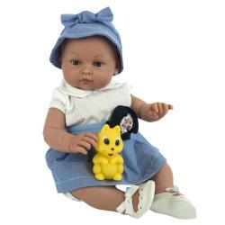 Пупс Алисия, в бело-голубом платье, с игрушкой