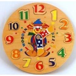 Деревянный пазл в рамке Часы-цифры