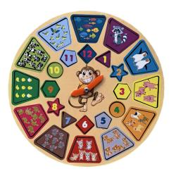 Развивающая деревянная игрушка Часики с животными. Изучаем время и учимся считать