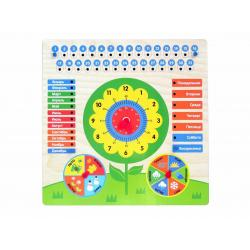 Обучающая доска Календарь с часами. Цветочек