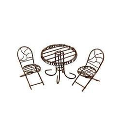 Набор металлической мини мебели стол и 2 стула, коричневый